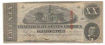 CONFEDERATE STATES banknote 20 DOLLARS 1863. overprint 9/1863 T-58