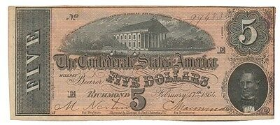 CONFEDERATE STATES banknote 5 DOLLARS 1864. T-69 XF++