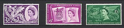 1958 SG567-569 3d-1s3d Commonwealth Games Set (3) Mounted Mint, hinged ABAI