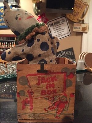 Vintage Rare Jonthay Wooden Jack in the Box Clown