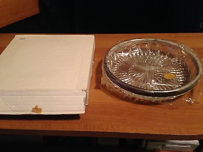"""9"""" diameter Serving Dish - Genuine Crystal and Silverplate by Leonard Italy"""