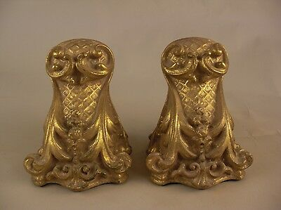 Pr Ornate Bookends Gold Gilt French Italy English UK Rococo Grand Tour Style