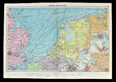 1952 North Sea Netherlands England Map Shipping Mail Ports Railway Routes RARE