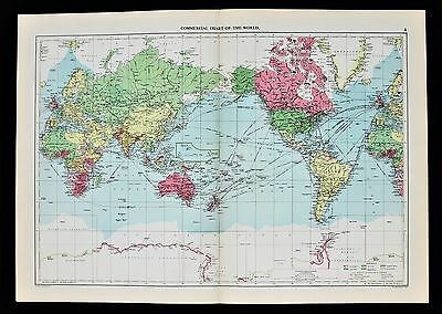 1952 World Map Commercial Chart Shipping Routes Railways Date Line Mercantile