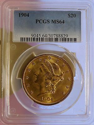 1904 $20 Liberty Gold Double Eagle  P.C.G.S. MS64