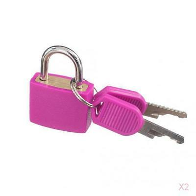 2x Small Padlock with Two Keys for Luggage Suitcase Bag Security Locks Rose Red