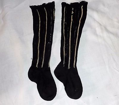 Antique Vntg Black w/ Yellow Stripe Child Baby Children Knee High Socks Textile