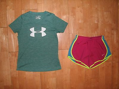 SET Youth Girls Kids UNDER ARMOUR Heat Gear Shirt & NIKE DRI-FIT Medium M Shorts