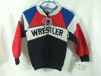 Vtg 80s BOYS ColorBlock Wrestler Sweatshirt Sz Sm NOS Halloween Costume Ideas