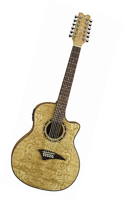 Dean Exotica Quilt Ash Acoustic-Electric 12 String Guitar, Gloss Natural