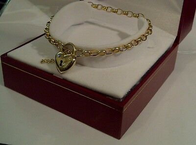 10ct Yellow Gold - Michael Hill Oval Belcher Bracelet with Puffed Heart Padlock