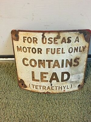 Early Porcelain Gas Pump Advertising Sign Pump Plate Curved