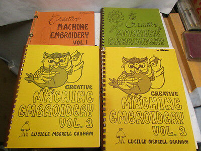 4 volumes of Creative Machine Embroidery by Lucille M Graham - Estate Listing NR