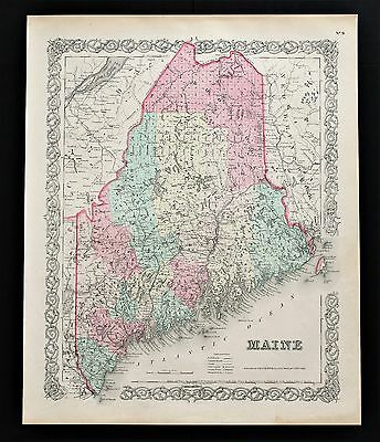 1856 Maine Map Portland Aroostook Railroads Cumberland Counties Towns ORIGINAL