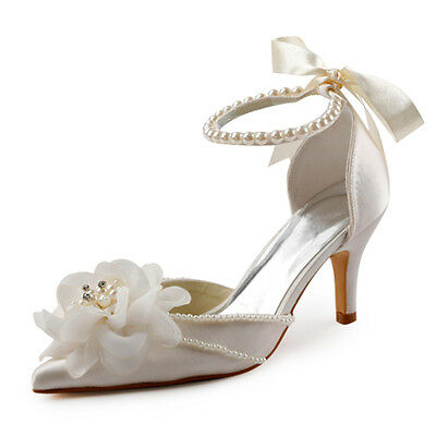EP11052 Ivory Pointed Toe Flower Pearl Ribbon High Heel Satin Bridal Shoes US 4