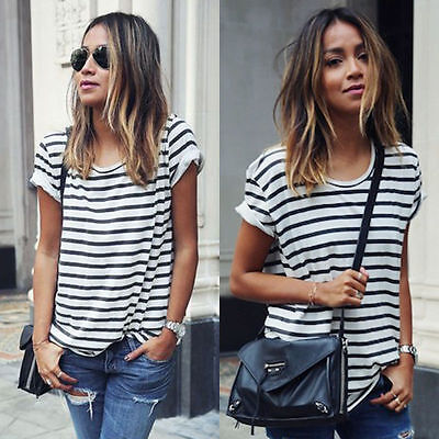 Women's Lady Summer Tops Striped Short Sleeve Tee T Shirt Casual Blouse Tee