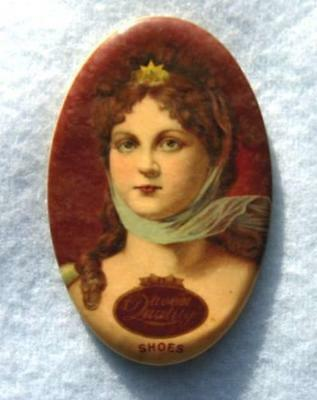 Pretty Antique Oval Celluloid Advertising Pocket Mirror - Queen Quality Shoes
