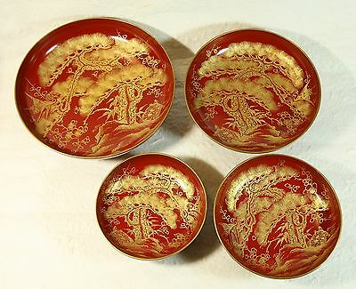 Japanese Old Lacquer Ware Wood 4 Sake Cup Pine Plum Crane Tortoise Gold-inlaid