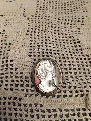 Antique 800 Silver Cameo Pendant Pin Abalone & Mother of Pearl c1880