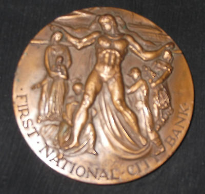 FIRST NATIONAL CITY BANK Large Bronze Medal 150th Anniversary Vtg 1962 NEW YORK