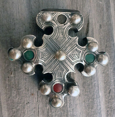 (B) Antique Tuareg Cross of Trarza Silver Wood Mauritania #1