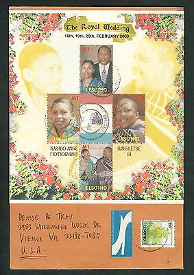 Lesotho Sc #1222 Royal Wedding Souvenir Sheet on Large Airmail Cover to U.S.