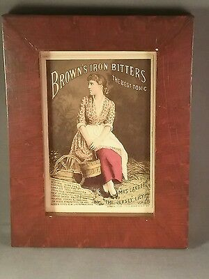 Four victorian advertising cards in reproduction grained frames lily Langtry