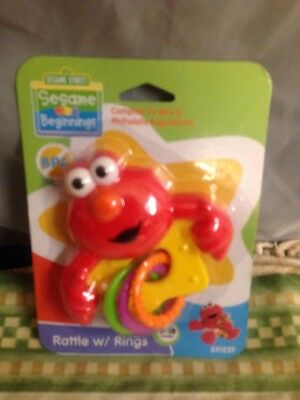 Sesame Street Beginnings Red ELMO RATTLE With RINGS 0-18 Months NIP