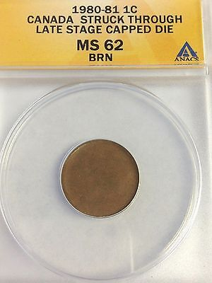 1980-81 Struck Through Late Stage CAPPED DIE ERROR, CANADA One Cent, ANACS MS-62