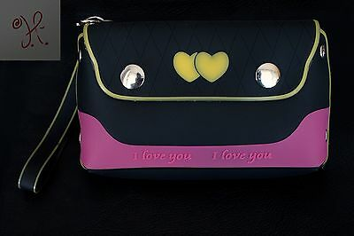 New Girls Black Pink Jelly Frosted Candy Silicone Handbag Purse Hearts Small