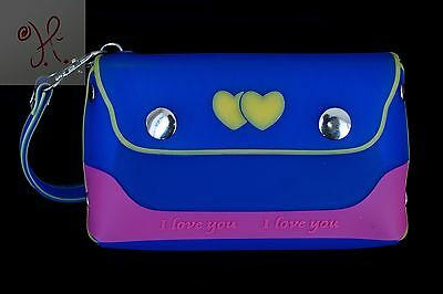 New Girls Blue Pink Jelly Frosted Candy Silicone Handbag Purse Hearts Small