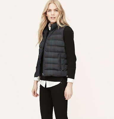 $79 NEW! Ann Taylor LOFT by COLEBROOK Black Watch Quilted Puffer Vest - S/Small