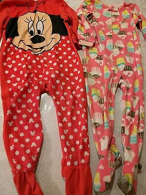 girls footed pajamas lot size 3 minniemouse, cupcakes so cute