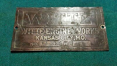 Witte gas engine brass 6 hp tag hit miss