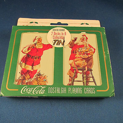 Coca-Cola Playing Cards 2-pack in Decorative Christmas Tin New in Box Coke Santa