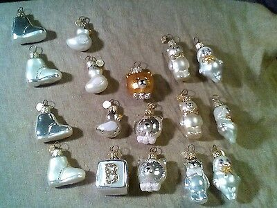 17 department 56 miniature glass christmas ornaments bears dolls boots