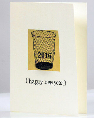 Blue Specs Studio 2016 In The Trash New Years Holiday Greeting Card Pun Humor