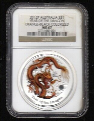 2012-P Australia S$1 Year Of The Dragon Orange-Black  Ngc Silver Proof Coin !!!