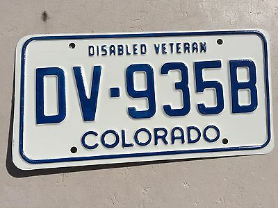 "Colorado Disabled Veteran Passenger License Plate  "" Dv 935B "" Co Army Usaf Navy"