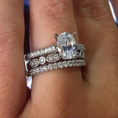 14K White Gold Over 3CT Diamond Engagement Ring Wedding Trio Set For His & Her