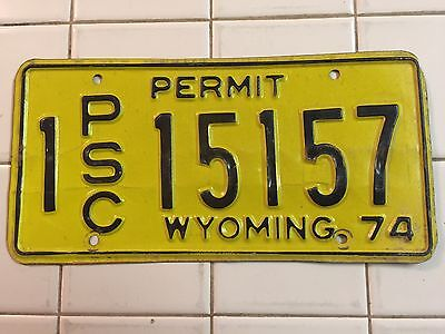 "1974 Wyoming Public Service Commission  Permit License Plate  "" 1 Psc 15157 "" Wy"