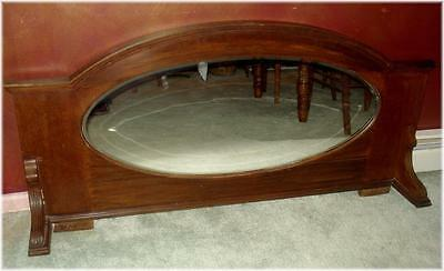 ANTIQUE FIREPLACE MANTLE TOPPER SOLID MAHOGANY with BEVELED OVAL MIRROR