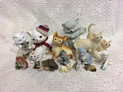 large mixed collection of vintage cats, retro, kitsch, home decor,