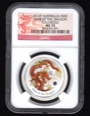 2012-P Australia S50C Year Of The Dragon Colorized Ngc Silver Proof Coin !!!