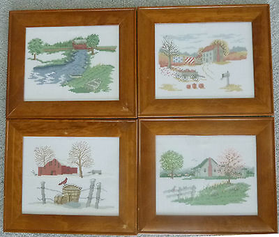 4 COMPLETED CROSS STITCHES in frames - Winter, Spring, Summer & Autumn