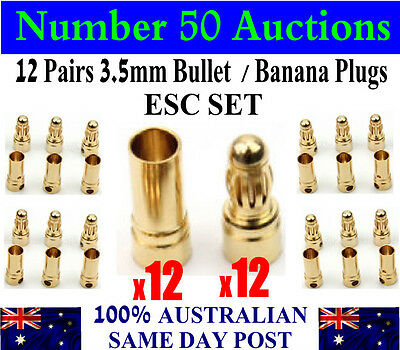 12 Pairs 3.5mm Bullet Banana Plug Connector RC Battery ESC Set 12M + 12F plugs