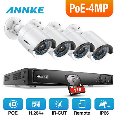ANNKE 3TB 4MP Outdoor IP HD Camera 8CH 6MP NVR Security System POE Kit Day/Night
