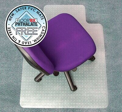 Floortex PVC Chairmat  115 x 134cm Keyhole Shape For Medium Pile Carpet