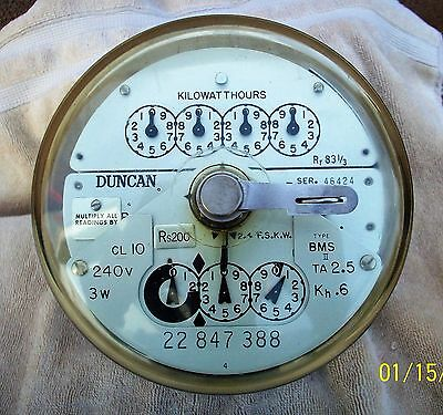 Duncan Electric Meter Type BMS II Form 4 Xlnt Working Condition