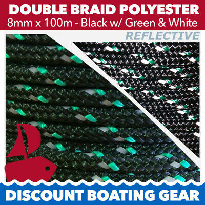 100m x 8mm Double Braid Polyester Yacht Rope | Black Reflective Sailing Rope
